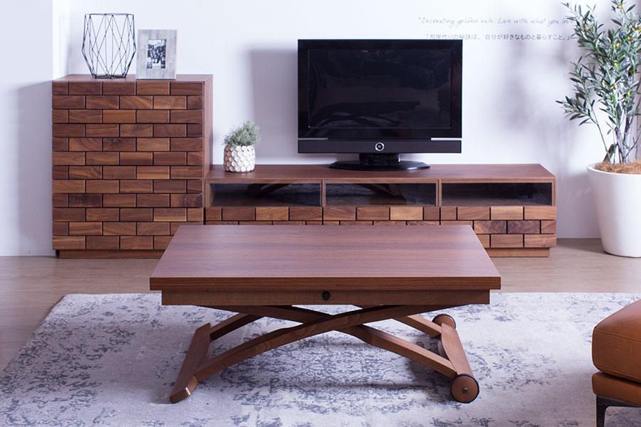 新潟 おしゃれ 家具 かっこいい テーブル 昇降式 カリガリス ローテーブル ダイニングテーブル