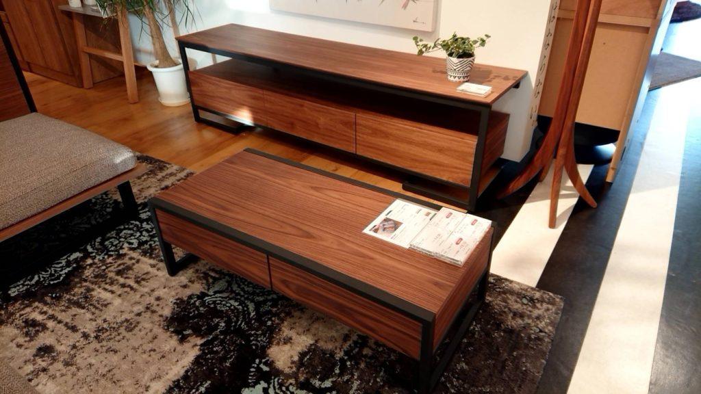 新潟 おしゃれ 家具 ソファ かっこいい ウォールナット ローソファ ローテーブル テレビボード リビング LDK